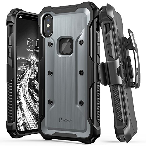 Vena vArmor Rugged Case Compatible with Apple iPhone X / XS (5.8'-inch), (Military Grade Drop Protection) Heavy Duty Holster Belt Clip Cover with Kickstand - Space Gray