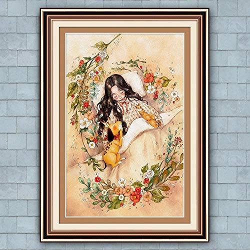 jijimidianzi GFJJTRB,Pintura de la Lona de la decoración de la Pared Chica de Dibujos Animados Resumen Minimalista decoración de la Pared del hogar Pintura sin Marco del arte-40x60cm