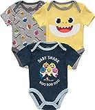 WowWee Baby Boys' Baby Shark Short Sleeve Onesies Bodysuit 3 Pack Set (Blue/White/Yellow, 3-6 Months)