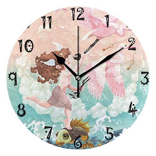 azalea store - Reloj de Pared Redondo con diseño de Flamenco y pez