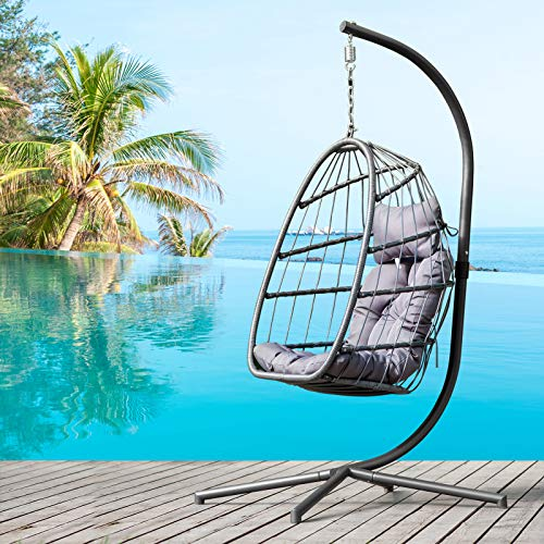 XISENOCI Hanging Outdoor Egg-Shaped Rocking Chair, Indoor and Outdoor Basket with Base and Cushion, Aluminum Frame Handmade Rattan Chair,Modern Fashion Grey