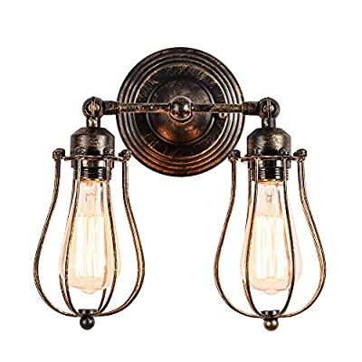 Vintage Wall Lamp Adjustable Industrial Rustic Wire Cage Wall Light Retro Style Indoor Lighting Fixture ;Moonkist (With 2 Light)