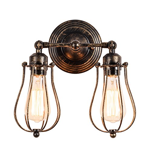 Vintage Wall Lamp Adjustable Industrial Rustic Wire Cage Wall Light Retro Style Indoor Lighting Fixture ;Moonkist (with 2 Light) (Oil Rubbed Bronze)