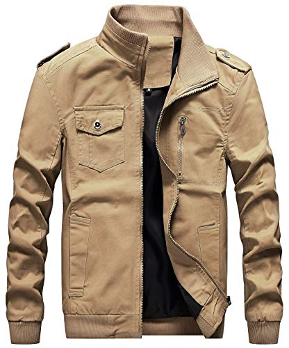 chouyatou Men's Casual Stand Collar Zip-Up Lightweight Bomber Jacket Windbreaker (Medium, 11Khaki)