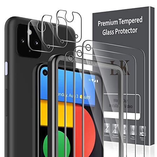 LK Compatible con Google Pixel 4a 5G 6,2 Pulgada Protector de Pantalla,3 Pack Cristal Templado y 3 Pack Protector de Lente de cámara, Doble protección, Kit de Instalación Incluido