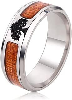 Black Flat Top Wedding Ring Living Tree Inlaid Men's Ring, Comfortable Design 6-13