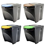 Sortibox - Juego de 4 cubos de basura, para la cocina, baño, papeleras (80 L, 4 cubos de 20 L), cubos para separar la basura, antracita, 39,2 x 29,3 x 33,5 cm