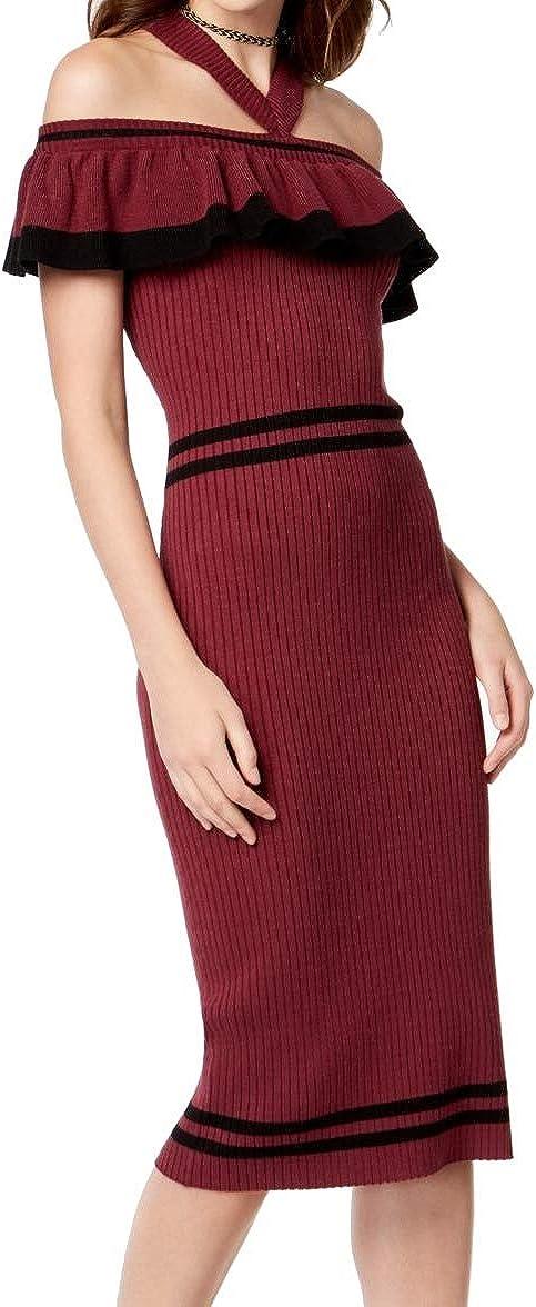 XOXO Women's Ruffled Sweater Off Shoulder Below The Knee Sheath Dress