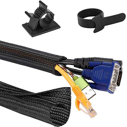ZesNice Kabelschlauch Selbstschließend kfz - 2M Gewebeschlauch Kabelschutz Kabelmantel Kabelschutzschlauch Schwarz Flexibel Kabel Sleeve + 20 Stück Kabelklemme + 20 Stück Kabelbinder Klettband