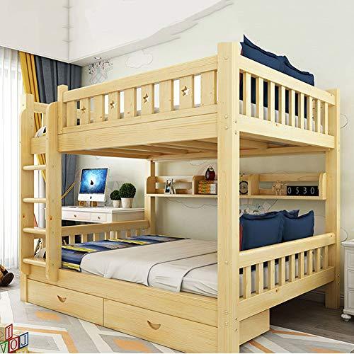 WSN Massivholz Etagenbett, Moderner Doppelschläfer mit Unterbett-Schublade, Treppen-Funktionsdesign, für 2 Kinder,0.9mx2m