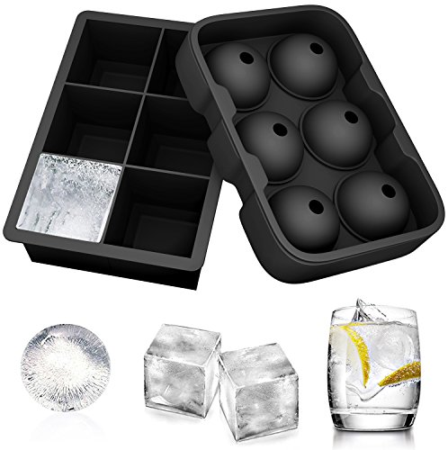Ouddy 2 Pack Silicone Ice Cube Tray, Large Sphere Round Ball Ice Cube Molds Trays Flexible Ice Molds for Whiskey, Cocktails, Bourbon and More