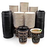 [100 Sets - 10 oz. With Lids] PREMIUM Paper Hot Coffee Cups with Lids - Resealable Lids - Leak Free To Go Disposable Hot Beverage