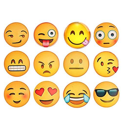 Set di 12calamite da frigo da cucina, magneti da frigorifero, magneti da ufficio, magneti emoji, magneti divertenti in vetro, con decorazione divertente