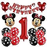 FANDE Palloncini Party Minnie, Palloncini Lattice 12 Pollici Kit Decorazioni per Feste Topolino Mickey e Minnie Forniture per Feste per Feste Tema di Compleanno Compleanno Decorazioni
