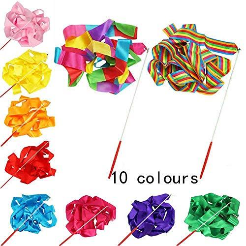 10 varitas de cinta multicolor para gimnasia y baile artístico para niños