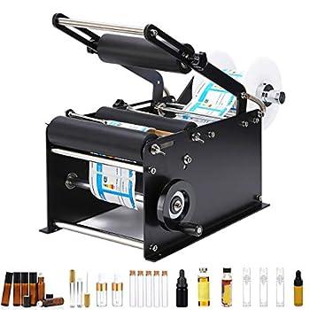 Hanchen Manual Round Bottle Labeling Machine with Press Handle Adjustable Bottle Labeler Label Applicator Machine for Vial Light Small Bottles 20-40pcs/min
