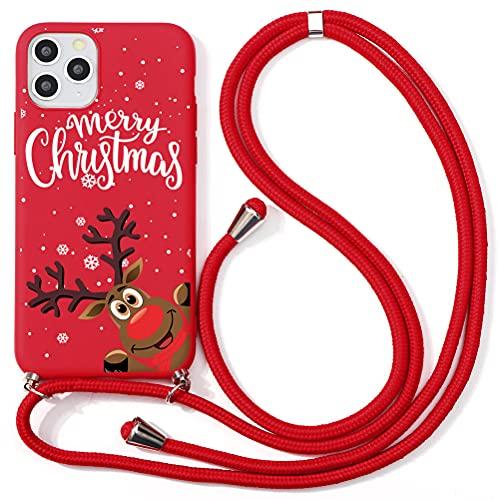 Eouine Capa transversal de Natal para Xiaomi Mi CC9 [16,2 cm] Alça de colar com estampa de cervo de Natal Capa antiarranhões de silicone vermelho TPU ajustável 160 cm Capa de cordão para pescoço para Xiaomi Mi CC9