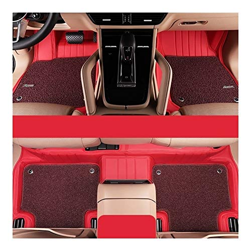 Huilian Mat Auto, Tappetino Antiscivolo Pelle Microfibra circondato Car Mats Misura for Il Porsche Cayenne 2020 (Colore : Classic Red+Maroon)