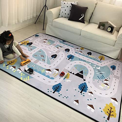 HMBBDT Alfombrilla para niños Infantil Juego Alfombra, Suave, no tóxico, Mapa de Carreteras del país, Gris 200 x 150 cm