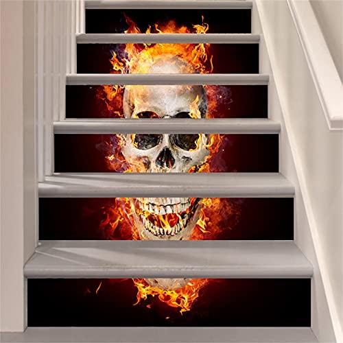 CACAIMAO Pegatinas De Escalera De Halloween, Pegatinas De Pared De Dormitorio De Sala De Estar, Pegatinas De Decoración De Escalera Extraíbles Impermeables De PVC 6 Piezas 18cm*100cm