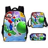 Lot de 3 sacs à dos pour enfant Super Mario - Sac à dos d'écolier - Sac à dos d'écolier - Imprimé 3D, a8,