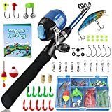 PLUSINNO Kids Fishing Pole,Telescopic Fishing Rod and Reel Combos with Spincast Fishing Reel and String with Fishing Line (Black, 120CM 47.24IN)
