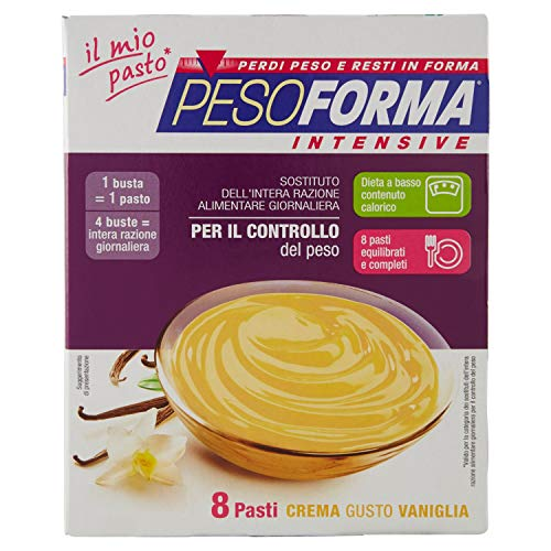 Pasto sostitutivo per dimagrire SOLO 210 Kcal - Pesoforma Intensive Crema Vaniglia - Ricca in proteine – Confezione da 8 pasti cremosi - 210 Kcal