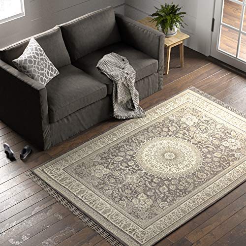 Amazon Brand – Stone & Beam Mid-Century Modern Dusk Wool Rug, 5′ x 8′, Tan