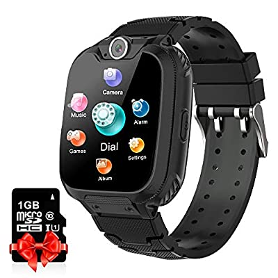 Kids Smart Watch Music Player with SD Card HD Touch Screen Sports Smartwatch Games Two-Way Call Camera Recorder Alarm Clock Music Player Calculator for Birthday Gift Toys Children Boys Girls (Black) from Leetalent