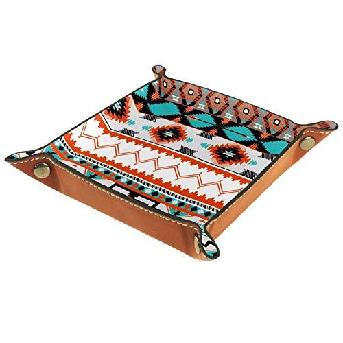 XiangHeFu Kunst Blumen Ethnische Stammes Azteken Geometrisches Muster Valet Tray Ledertablett Leder Catchall Schlüssel Handy Münzkasten für Schlüsselgeld Nachttisch Storage Container Box Organizer