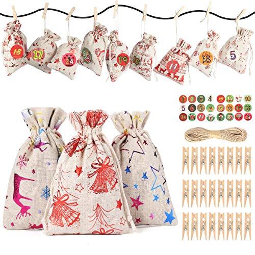 Huker Calendario de Adviento para Llenar, Bolsas de Regalo Navidad con 24 Adviento Pegatinas, Saquitos de Navidad, Bolsa de Yute, Bolsas de Calendario de Cuenta Regresiva de Navidad 2020 (12 Patrones)