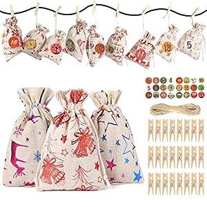 JOYUE Calendario de Adviento para Llenar, Bolsas de Regalo Navidad con 24 Adviento Pegatinas, Saquitos de Navidad, Bolsa de Yute, Bolsas de Calendario de Cuenta Regresiva de Navidad 2020 (12 Patrones)