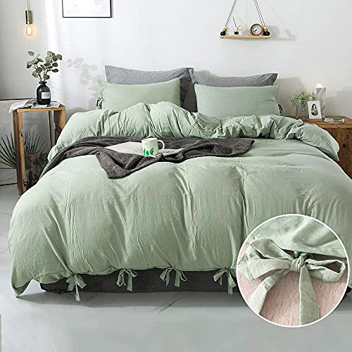 Annadaif Green Duvet Cover Queen(90x90 Inch),3 Pieces Soft Washed Microfiber Duvet Cover Set, Easy Care Bedding Set for Men, Women