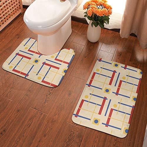 A Nod To Bauhaus, juego de 2 alfombras de baño de franela, alfombrilla de ducha y alfombra de inodoro en forma de U, antideslizante, absorbente