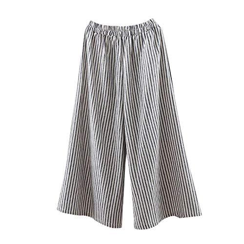 Pantalones de Lino para Mujer Otoño Invierno 2018 Moda PAOLIAN Casual Pantalones de Vestir Cintura Alta Suelto Estampado Rayas Pantalones Palazzo Baggy señora Tallas Grandes