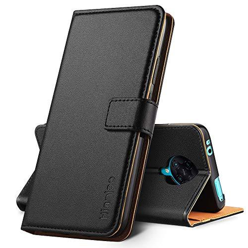 Hianjoo Hülle Kompatibel für Xiaomi Poco F2 Pro, Tasche Leder Flip Hülle Brieftasche Etui mit Kartenfach & Ständer Kompatibel für Xiaomi Redmi K30 Pro, Schwarz