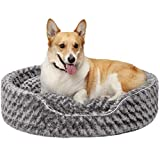 Furhaven Pet Dog Bed - Round Oval Cuddler Ultra Plush Faux Fur Nest Lounger Pet Bed for Dogs and Cats, Gray, Extra Large
