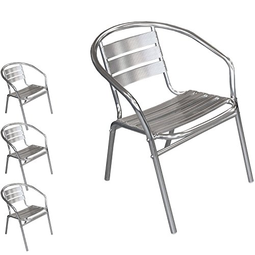 Multistore 2002 4 Stück Bistrostuhl stapelbar Aluminium Stapelstuhl Campingstuhl Gartenstuhl Küchenstuhl Balkonmöbel Gartenmöbel Silber