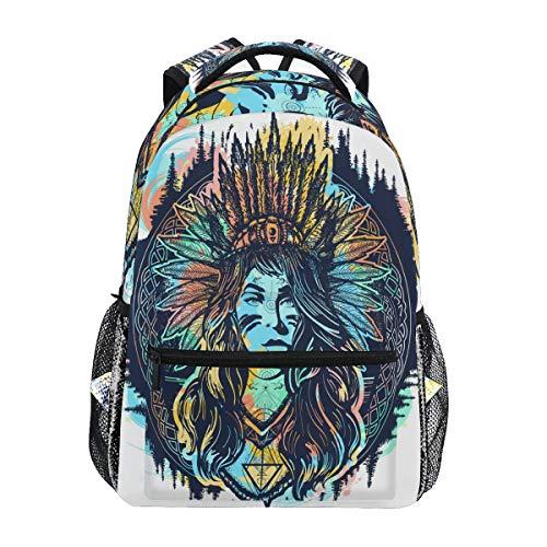 QMIN Sac à dos ethnique indienne femme Motif école, sac à dos scolaire, sac à dos, sac à dos pour ordinateur portable, randonnée, camping, sac à bandoulière pour garçons, filles, femmes, hommes