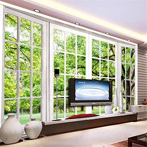3D behang niet geweven muur muurschilderingen op maat foto behang 3D stereoscopische groene vensterbank landschap grote muur muurschilderingen woonkamer slaapkamer behang 300cm*210cm
