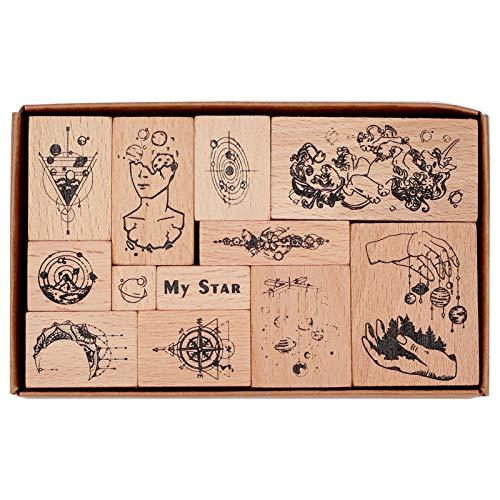 CRASPIRE 12PCS Holzstempelset Holzstempel Druckstempel Vintage Stamper Seal Set Universum Quader Mit Würfel Holzstempel Stempelset, Für Arts Crafts Card Making Scrapbooking Album Dekoration