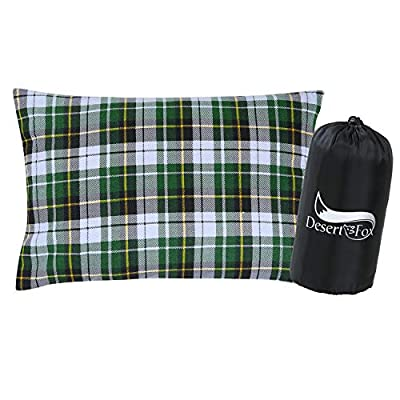 DESERT & FOX Cotton Flannel Camping Pillow, Portable & Lightweight Sleeping Bag Pillows with Cases for Outdoor Travel, Camping, Hiking