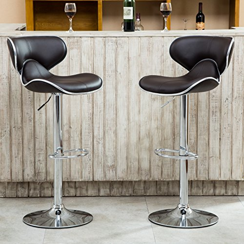 Roundhill Furniture Masaccio Cushioned Leatherette Upholstery Airlift Adjustable Swivel Barstool with Chrome Base, Set of 2, Brown