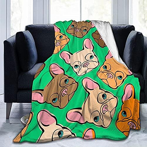 Coperta in pile di flanella con testa di bulldog francese, per bambini, uomini, donne, morbide e calde, per divano letto, viaggio Sof