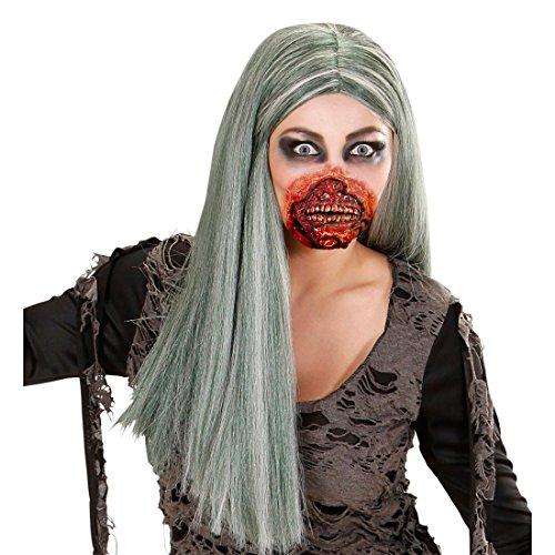 NET TOYS Horror Zombie Mund Halloween Maske Zombiemund Gesichtswunde Zombie Schminke Wunde 3D Make Up FX Zombieschminke