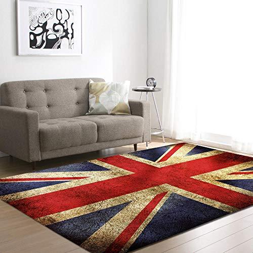 WZZSKE Teppich Kurzflor weicher Designer Anti-Rutsch Unterseite fürs Wohnzimmer Schlafzimmer & die Kinderzimmer geeignet Rote weiße Blaue britische Flagge Teppich Größen: 200 x 300 cm