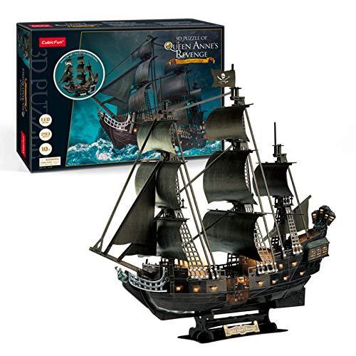 XUEER Puzzle 3D, Queen Anne's Revenge Rompecabezas, 3D Nave Kit de Modelo de Barco Pirata, Grande con Luces LED,Regalo De Construcción para Adultos Y Niños,293 Piezas