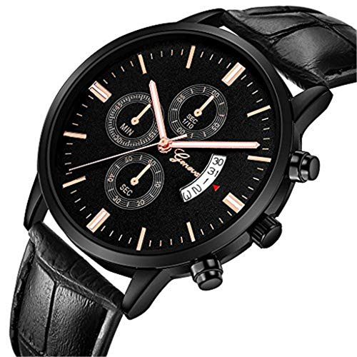 uhr for herren Chronograph Analogue Quartz Wasserdicht Business Schwarz Zifferblatt Armbanduhr mit Edelstahl Armband(Q)