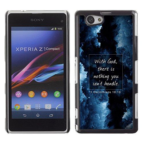 DREAMCASE Bibelzitate Bild Hart Handy Schutzhülle Schutz Schale Case Cover Etui für Sony Xperia Z1 Compact D5503 - mit Gott gibt es Nichts, was Man Nicht umgehen kann - Korinther 10:13