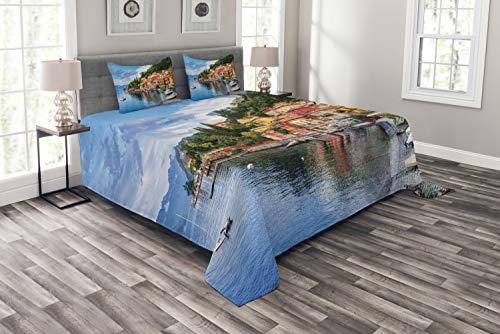 ABAKUHAUS Italienisch Tagesdecke Set, Yacht Idyllische Stadt, Set mit Kissenbezügen Sommerdecke, für Doppelbetten 220 x 220 cm, Mehrfarbig